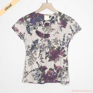 [Ric Rac] Cream Floral Print Short Sleeve Blouse